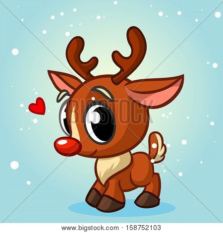 Cute Christmas red nose reindeer vector illustration on white background