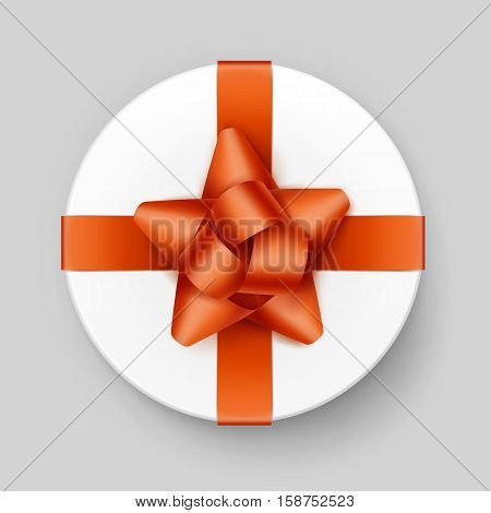Vector White Round Gift Box with Shiny Orange Bow and Ribbon Top View Close up Isolated on Background