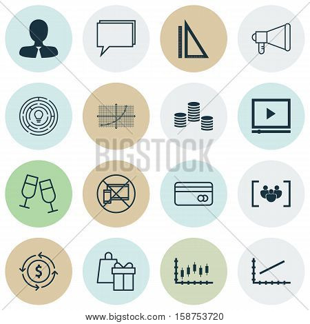 Set Of 16 Universal Editable Icons. Can Be Used For Web, Mobile And App Design. Includes Icons Such As Shopping, Stock Market, Conference And More.