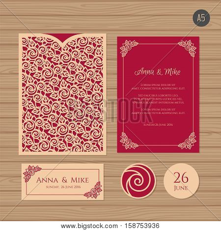 Wedding Invitation Or Greeting Card With Floral Ornament. Paper Lace Envelope Template. Wedding Invi