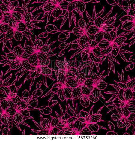 Black and pink flower and leaves sketch style seamless vector pattern. Lineart, two colored blossom seamless background print. Spring summer design for greetings, wedding cards, invitations, textile