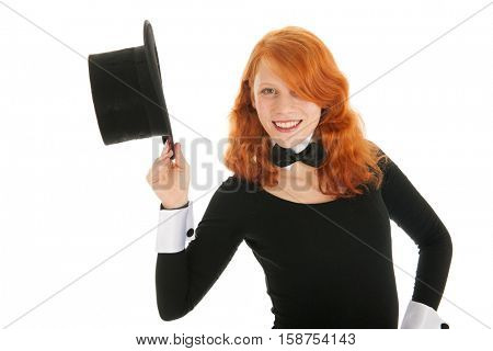 Woman as dandy with black silk hat isolated over white background