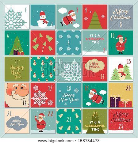 Advent calendar. Christmas poster. Santa Claus snowflakes snowman Christmas tree Christmas symbols Christmas font Christmas gifts
