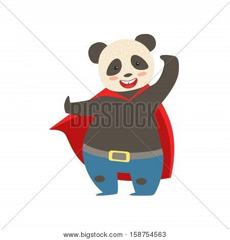 Panda Bear Animal Dressed As Superhero With A Cape Comic Masked Vigilante Character. Part Of Fauna With Super Powers Flat Cartoon Vector Collection Of Illustrations.