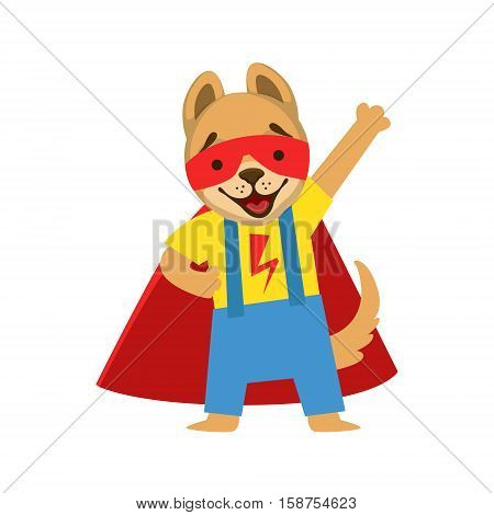 Puppy Animal Dressed As Superhero With A Cape Comic Masked Vigilante Character. Part Of Fauna With Super Powers Flat Cartoon Vector Collection Of Illustrations.