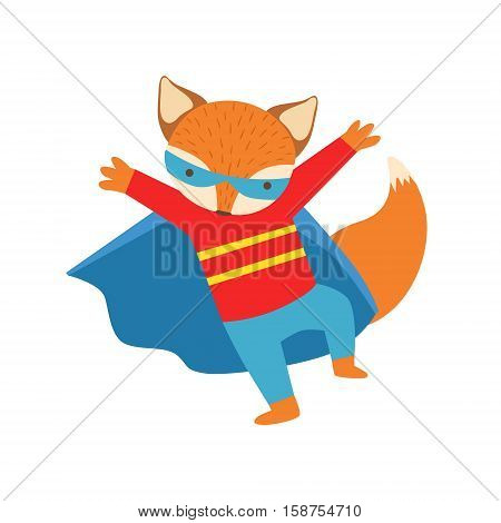 Fox Animal Dressed As Superhero With A Cape Comic Masked Vigilante Character. Part Of Fauna With Super Powers Flat Cartoon Vector Collection Of Illustrations.