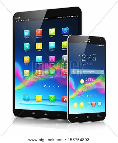 3D render illustration of tablet computer PC and metal black glossy touchscreen smartphone with colorful interface isolated on white background with reflection effect