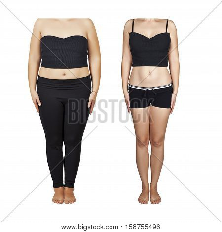 Girl before and after weight loss. A healthy lifestyle