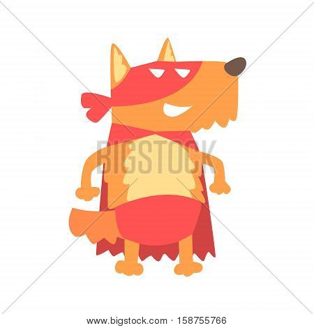 Dog Smiling Animal Dressed As Superhero With A Cape Comic Masked Vigilante Geometric Character. Part Of Fauna With Super Powers Flat Cartoon Vector Collection Of Illustrations.