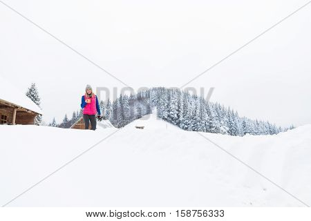 Young Girl Holding Cup Hot Coffee Or Tea Wooden Country House Winter Snow Resort Cottage Vacation