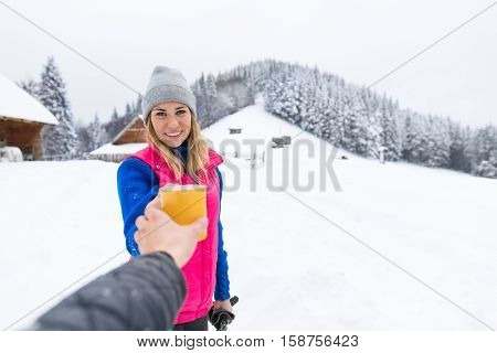 Young Girl Taking Cup Hot Coffee Or Tea Wooden Country House Winter Snow Resort Cottage Vacation