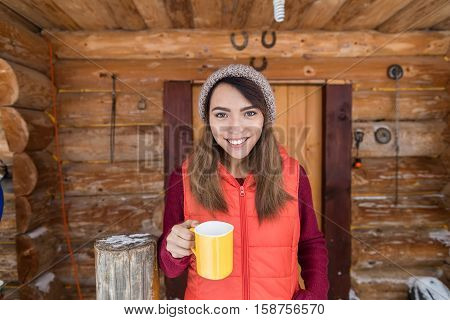 Young Asian Girl On Terrace Holding Cup Hot Coffee Tea Wooden Country House Winter Resort Cottage Vacation