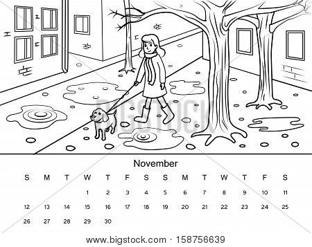 November calendar with coloring book image. Black and white drawing. Cartoon hand drawn vector illustration