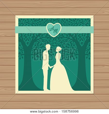 Wedding Invitation With Bride And Groom, And Tree. Paper Lace Envelope Template. Wedding Invitation