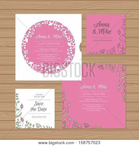 Wedding Invitation Or Greeting Card With Flower Wreath. Cut Laser Square Envelope Template. Wedding