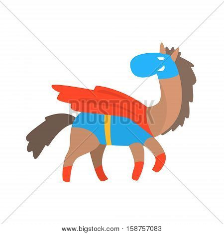 Horse Smiling Animal Dressed As Superhero With A Cape Comic Masked Vigilante Geometric Character. Part Of Fauna With Super Powers Flat Cartoon Vector Collection Of Illustrations.