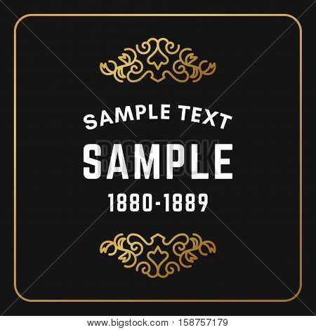 Golden Luxurious Logo Frame. Golden On Black Background. Vector Illustration. Decorative Elements Fo