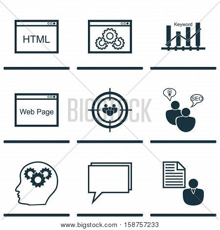 Set Of Marketing Icons On Conference, Coding And Report Topics. Editable Vector Illustration. Includes Businessman, HTML, Plan And More Vector Icons.