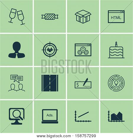 Set Of 16 Universal Editable Icons. Can Be Used For Web, Mobile And App Design. Includes Icons Such As Open Cardboard, Manager, Innovation And More.