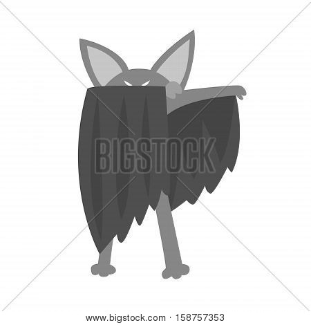 Bat Animal Dressed As Superhero With A Cape Comic Masked Vigilante Geometric Character. Part Of Fauna With Super Powers Flat Cartoon Vector Collection Of Illustrations.