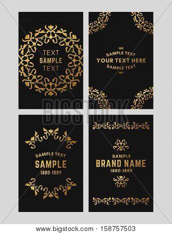 Set Of Floral Logo Frame And Monogram. Golden On Black Background. Vector Illustration. Decorative E
