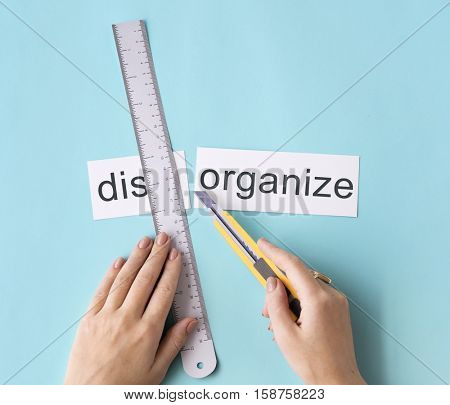 Disorganize Hands Cut Word Split Concept