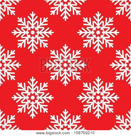 White snowflakes on red background seamless pattern for continuous replicate
