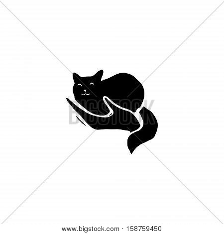 Cat in woman's hand - a black silhouette. Logo vet clinic or shelter for animals a symbol of care. Vector