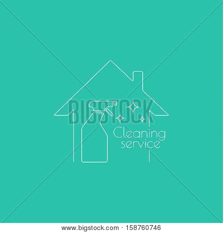 Vector logo with clean house with spray bottle. Icon cleaning services.  Linear icon. Thin line. The concept of home cleaning and cleanliness.