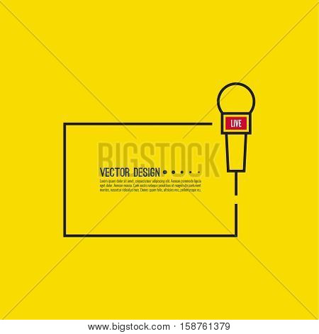 Journalism concept. Live news template with microphone. Symbol breaking news on TV and radio. Journalist, interview, reporter, press, interviewer, mass media, paparazzi, mic text box Vector poster