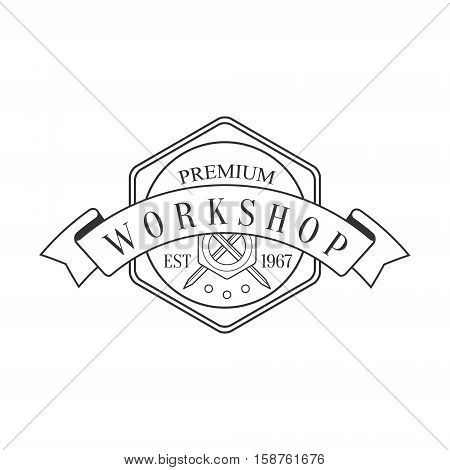 Hexagon And Ribbon Premium Quality Wood Workshop Monochrome Retro Stamp Vector Design Template. Black And White Illustration With Instruments And Working Equipment Objects Silhouettes With Text.