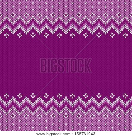 Traditional Fair Isle Style Seamless Knitted Pattern. Festive Design Background with a Place for Text