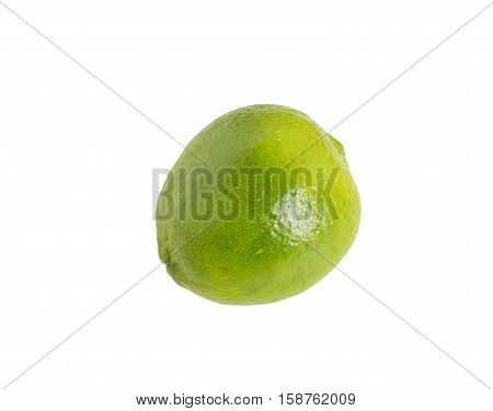 Closeup of fresh lime. Isolated on a white background.