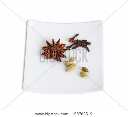 Aromatic condiments for baking cake. Isolated on a white background.