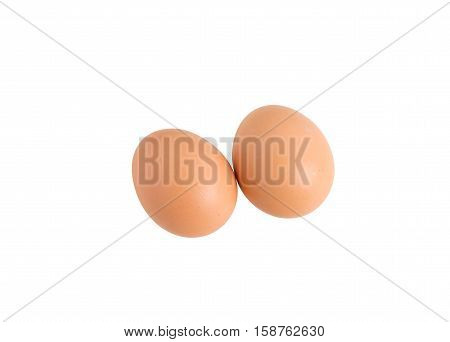 Closeup of chicken eggs. Isolated on a white background.