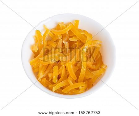 Candied orange peels. Isolated on a white background.
