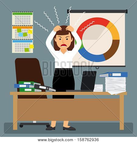 Businesswoman in stress with hands on her head vector illustration