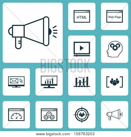 Set Of Marketing Icons On Market Research, Questionnaire And Video Player Topics. Editable Vector Illustration. Includes Audience, Focus, Page And More Vector Icons.