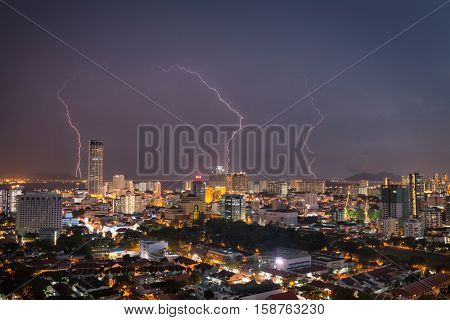 City of Penang during thunderstorm , Malaysia