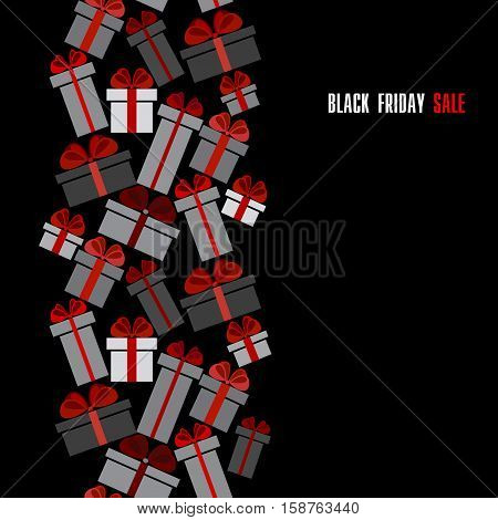 Black Friday sale black red white gift boxes vertical seamless border. Darck Black Friday sale design. Vector illustration stock vector.