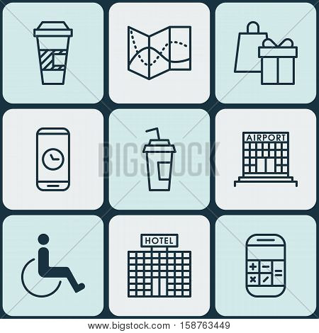 Set Of Transportation Icons On Drink Cup, Takeaway Coffee And Hotel Construction Topics. Editable Vector Illustration. Includes Shopping, Road, Paper And More Vector Icons.