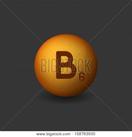 Vitamin B6 Orange Glossy Sphere Icon on Dark Background. Vector illustration