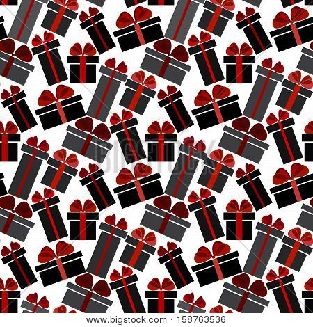 Black Friday sale black red white gift boxes seamless pattern background. Light Black Friday sale design. Vector illustration stock vector.