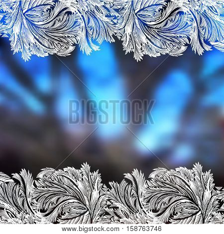Winter blue blur background with frost hoar border frame. Horizontal frozen glass design. Vector illustration stock vector.