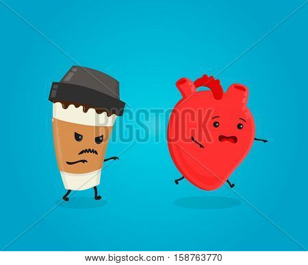 Coffee kill heart. caffeine danger concept. caffeine kills. Vector flat cartoon character illustration