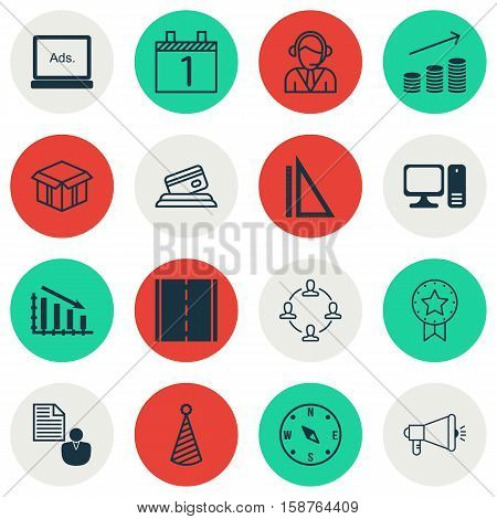 Set Of 16 Universal Editable Icons. Can Be Used For Web, Mobile And App Design. Includes Icons Such As Credit Card, Agenda, Report And More.