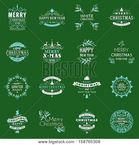 Christmas Decoration Vector Elements. Merry Christmas And Happy Holidays Wishes. Vector Set Of Decor
