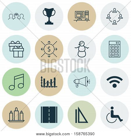 Set Of 16 Universal Editable Icons. Can Be Used For Web, Mobile And App Design. Includes Icons Such As Crotchets, Computer, Money And More.