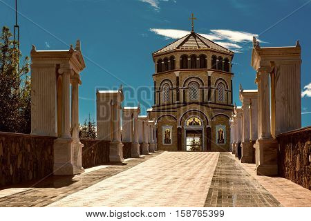 Famous orthodox monastery of Kykkos, Holy monastery of the Virgin of Kykkos in Cyprus. Way to the church near king Macarius grave. Travel sightseeing image