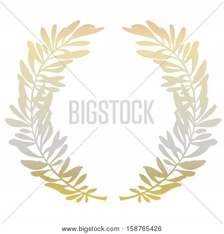 Golden olive branches or laurel wreath on white background. Hand drawn wreath. Vector illustration stock vector.